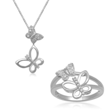 jcpenney.com | 1/10 CT. T.W. Diamond Sterling Silver Double Butterfly Necklace or Ring