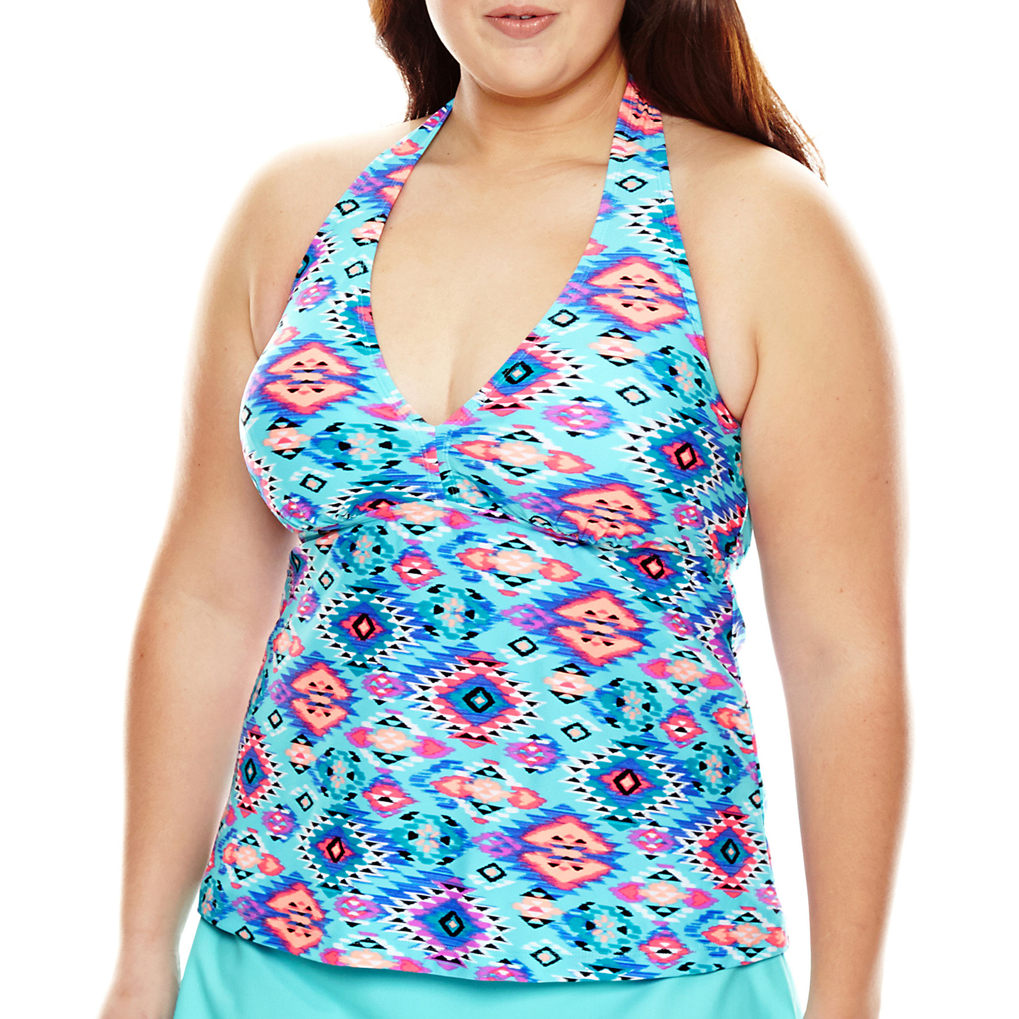 Arizona Tribal Fusion Halterkini Swim Top - Juniors Plus plus size,  plus size fashion plus size appare