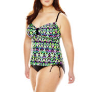 Arizona Ziggy Chevron Swim Top or Side-Tie Hipster Swim Bottoms - Juniors Plus
