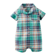 Carter's® Short-Sleeve Plaid Romper - Baby Boys newborn-24m