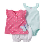 Carter's® 3-pc Short-Sleeve Butterfly Bodysuit Set - Baby Girls newborn-24m