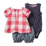 Carter's® 3-pc. Short-Sleeve Gingham Bodysuit Set - Baby Girls newborn-24m