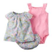Carter's® 3-pc. Short-Sleeve Floral Bodysuit Set - Baby Girls newborn-24m