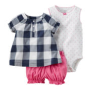 Carter's® 3-pc. Short-Sleeve Navy Gingham Bodysuit Set -Baby Girls newborn-24m