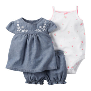 jcpenney.com | Carter's® 3-pc Embroidered Chambray Bodysuit Set - Baby Girls newborn-24m