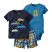 Carter's® 3-pc. Short-Sleeve Cars Bodysuit Set - Baby Boys newborn-24m