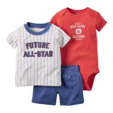 jcpenney.com | Carter's® Boy 3-pc. Short-Sleeve All-Stars Bodysuit Set - Baby Boys newborn-24m
