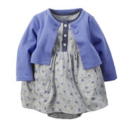 Carter's® Short-Sleeve Floral Bodysuit-Dress and Cardigan Set - Baby Girls newborn-24m