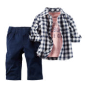 Carter's® 3-pc Long-Sleeve Shirt & Pant Set - Baby Boys newborn-24m
