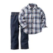 Carter's® Long-Sleeve Plaid Shirt and Jeans Set - Baby Boys newborn-24m