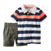 Carter's® Short-Sleeve Striped Polo Shirt and Shorts Set - Baby Boys newborn-24m