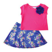 Marmelatta Short-Sleeve Top and Floral Skirt Set - Preschool Girls 4-6x