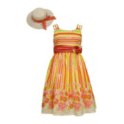 Bonnie Jean® Sleeveless Floral Dress with Hat - Girls 7-16