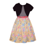 Bonnie Jean® French Print Dress with Cardigan - Girls 7-16 and Plus