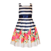 Bonnie Jean® Sleeveless Floral Stripe Dress - Girls 7-16 and Plus