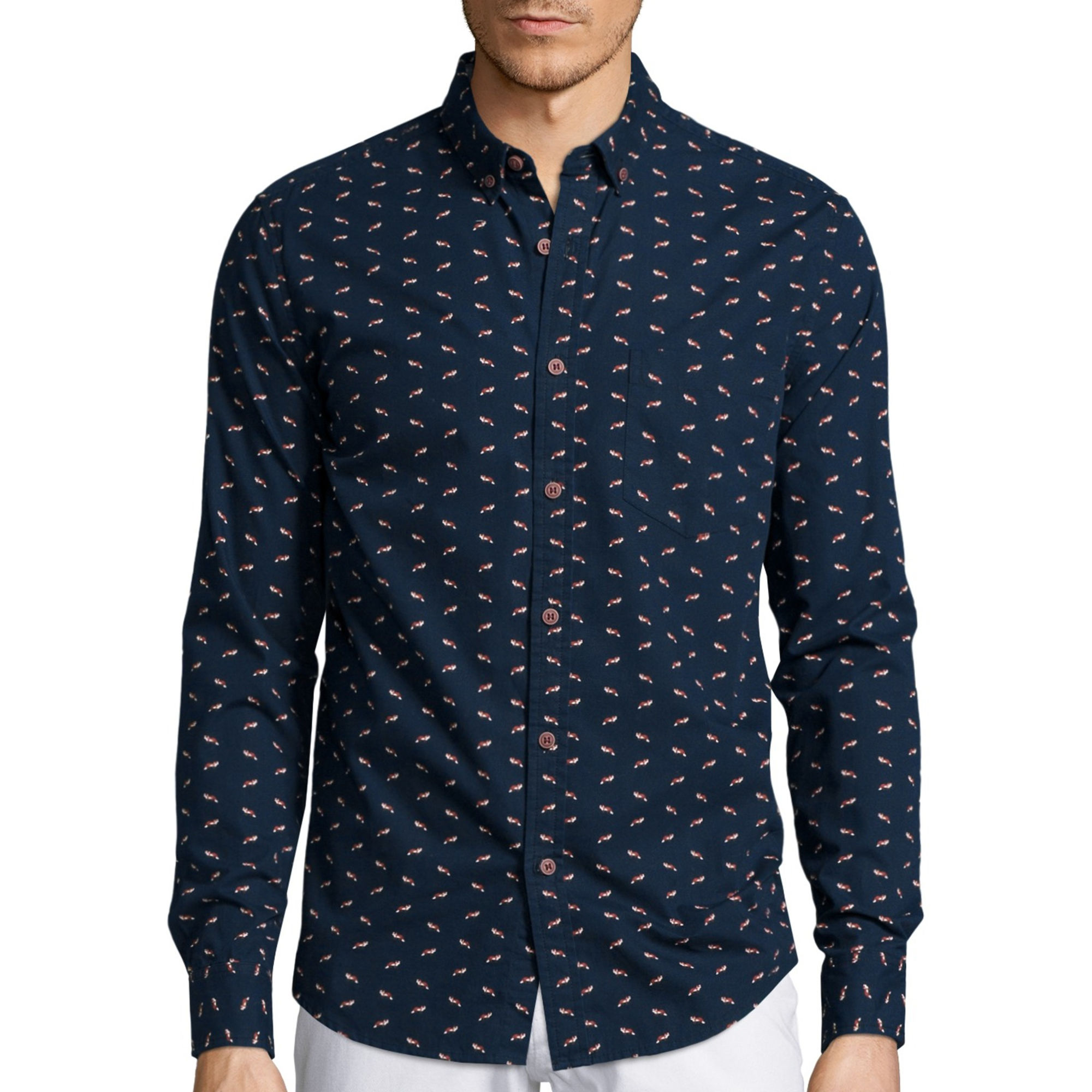 Denim And Flower Mens Shirts Custom Shirt