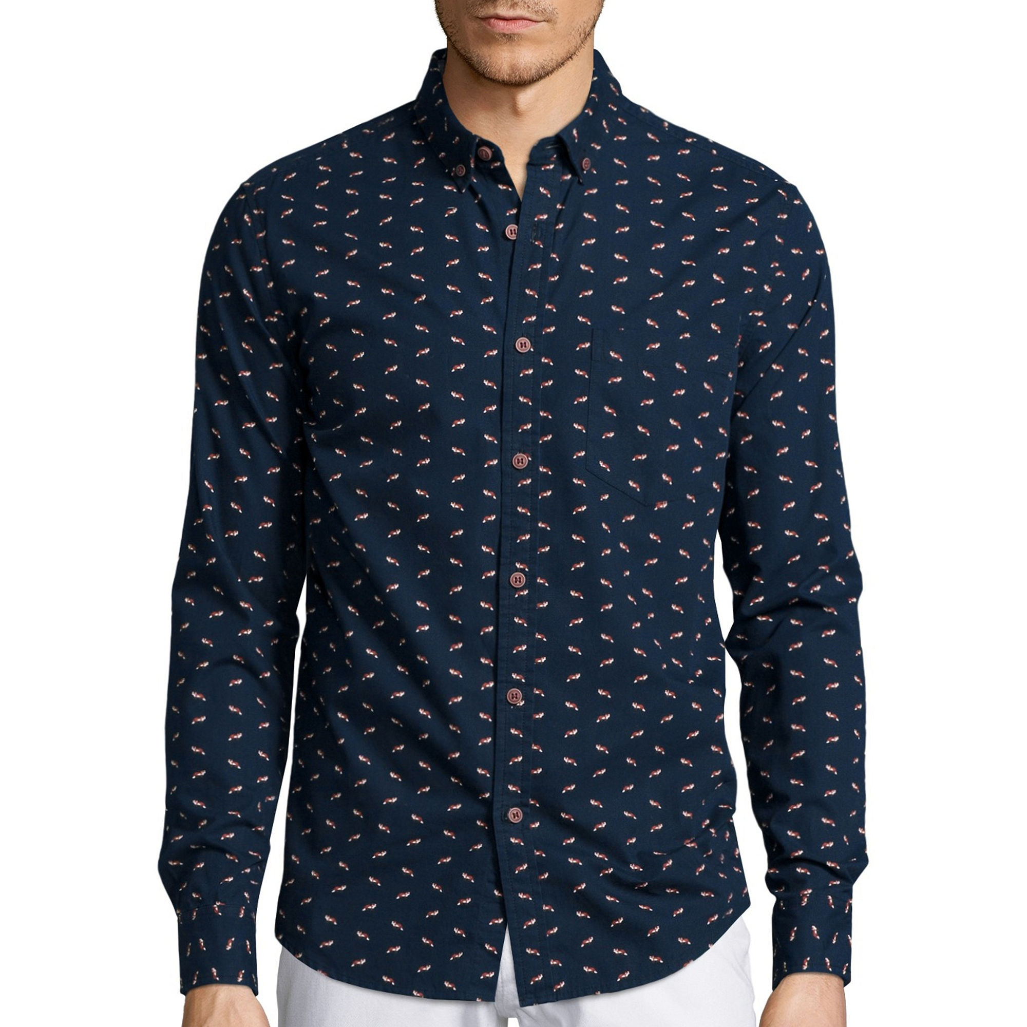 fc0d4592fd UPC 602140183881 - Young Mens Denim   Flower Fox Print Shirt S ..