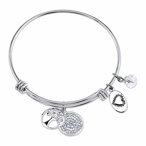 Footnotes White Crystal Stainless Steel Bangle Bracelet
