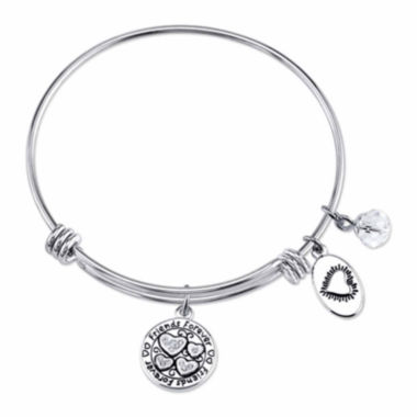 jcpenney.com | Footnotes Too Stainless Steel Crystal Friends Bangle Bracelet