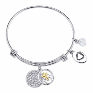 jcpenney.com | Footnotes Too White Crystal Stainless Steel Bangle Bracelet