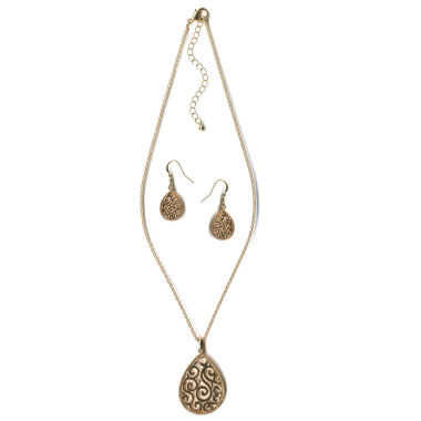 jcpenney.com | Mixit Gold Scroll Teardrop Jewelry Set