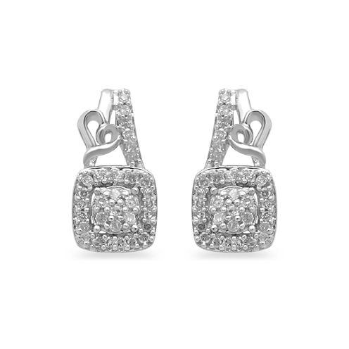 Hallmark Diamonds Sterling Silver 1/7Cttw Diamond Earrings