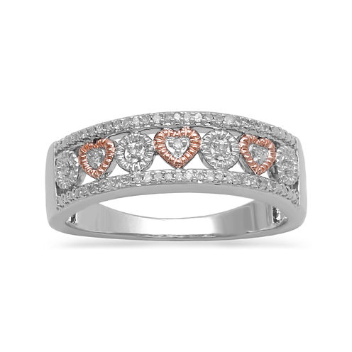 Womens 1/10 CT. T.W. White Diamond 14K Gold Over Silver Band