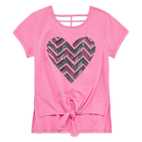 Total GirlShort Sleeve Tie Front Cage Back Top - Girls' 7-16 and Plus