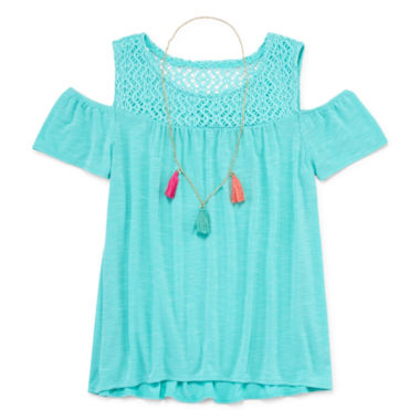 jcpenney.com | Arizona Lace Cold Shoulder with Necklace - Girls' 7-16 and Plus