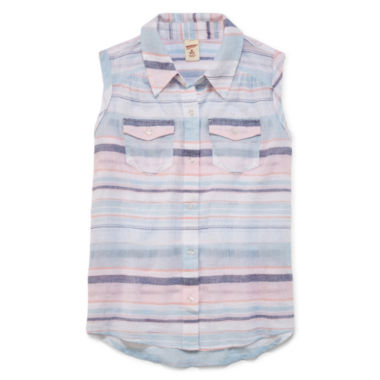 jcpenney.com | Arizona Tie Front Woven Top - Girls' 7-16 and Plus