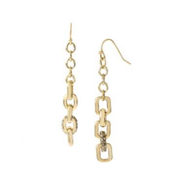 jcpenney.com | Worthington® Crystal-Accent Gold-Tone Rectangle Link Earrings