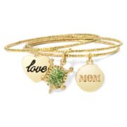 Liz Claiborne® 3-pc. Gold-Tone Charm Bangle Set