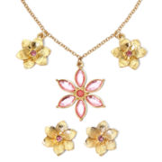 Liz Claiborne® Pink Flower Necklace and Earring Set