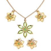 Liz Claiborne® Green Flower Necklace and Earring Set