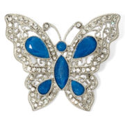 Liz Claiborne® Blue Stone and Crystal Butterfly Pin