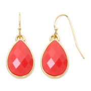 Liz Claiborne Coral and Gold Tone Drop Earrings