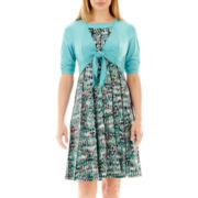 Perceptions Elbow-Sleeve Knit Jacket Dress - Petite