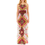 London Style Collection Sleeveless Halter Maxi Dress - Petite
