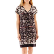 London Style Collection Cap-Sleeve V-Neck Shift Dress - Petite