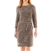 Studio 1® Long-Sleeve Chain-Belt Sweater Dress - Petite