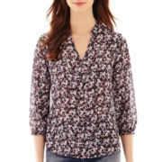 Liz Claiborne® 3/4-Sleeve Print Popover Blouse with Cami - Tall