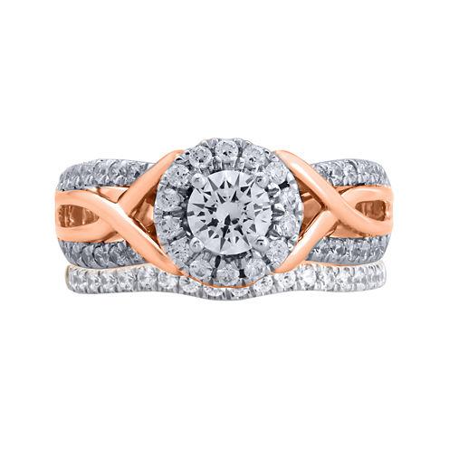 Modern Bride® Signature 1¼ CT. T.W. Diamond 14K Rose Gold Bridal Ring Set