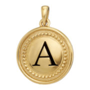 10K Yellow Gold Initial Disc Pendant Necklace
