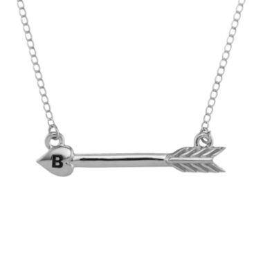 jcpenney.com | Personalized 14K White Gold Initial Arrow Necklace