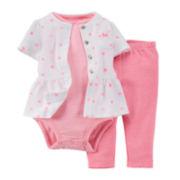 Carter's® 3-pc. Cardigan, Bodysuit and Pants Set - Girls newborn-24m