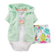 Carter's® 3-pc. Cardigan, Bodysuit and Shorts Set – Girls newborn-24m