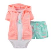 Carter's® 3-pc. Cardigan, Bodysuit and Shorts Set - Girls newborn-24m