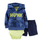 Carter's® 3-pc. Hoodie, Bodysuit and Shorts Set – Boys newborn-24m