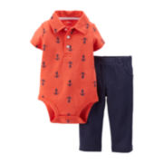 Carter's® 2-pc. Polo Bodysuit and Pants Set - Boys newborn-24m
