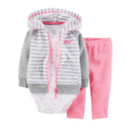 Carter's® 3-pc. Hoodie, Bodysuit and Pants Set – Girls newborn-24m